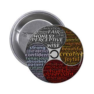 Botón redondo del carácter de la persona pin redondo de 2 pulgadas