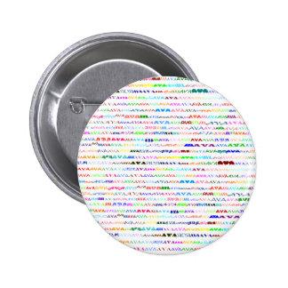 Botón redondo del diseño II del texto de Ava Pin Redondo De 2 Pulgadas