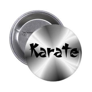 Botón redondo del falso karate de plata pin redondo de 2 pulgadas