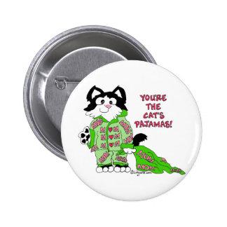 Botón redondo del gato lindo de los pijamas del ga pin