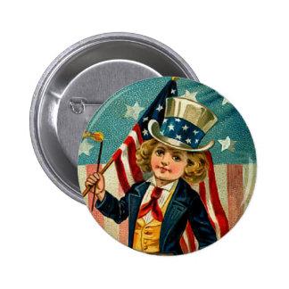 Botón redondo del muchacho patriótico pins