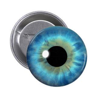 Botón redondo del ojo azul del iris de la chapa redonda 5 cm