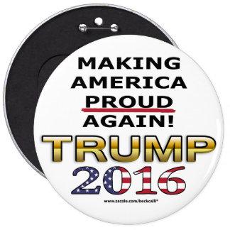 Botón redondo del patriota 2016 de oro del triunfo pin redondo de 6 pulgadas