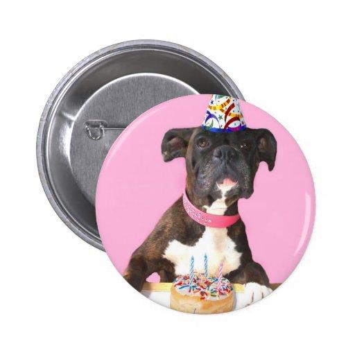 Botón redondo del perro del boxeador del feliz cum pin