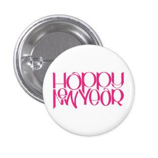Botón redondo del rosa de la Feliz Año Nuevo Pin Redondo De 1 Pulgada