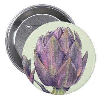 Botón redondo del verde púrpura de la alcachofa pin redondo de 3 pulgadas
