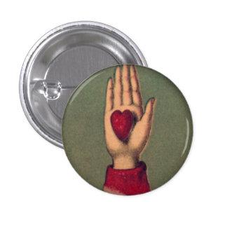 Botón redondo disponible de 1 pulgada del corazón pin redondo de 1 pulgada