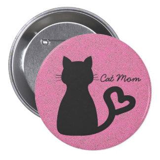 Botón redondo grande de la mamá del gato pin redondo de 3 pulgadas