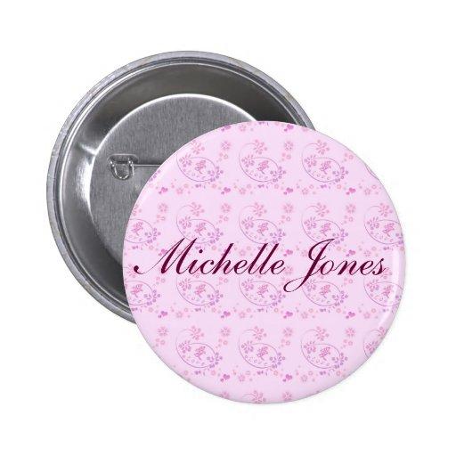 Botón redondo personalizado del amor púrpura román pin