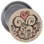 Botón redondo rojo de Kraft del adorno del corazón Pins