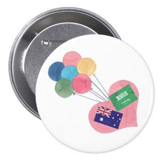 botón redondo saudí-australiano del pinback pin redondo de 3 pulgadas