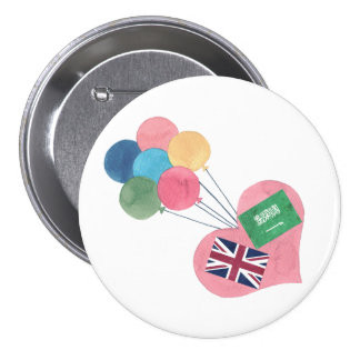 botón redondo saudí-británico del pinback pin redondo de 3 pulgadas