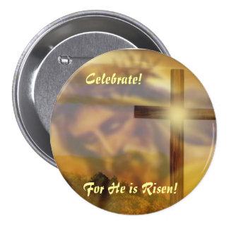 """Botón religioso de Pascua """"lo suben """" Pin Redondo De 3 Pulgadas"""