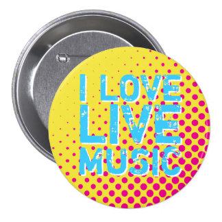 Botón retro amarillo y azul de la música del amor pin redondo de 3 pulgadas