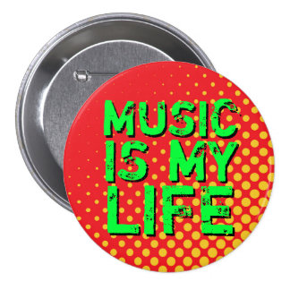 Botón retro amarillo y rojo de la música del amor pin