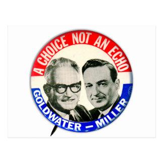 Botón retro de la elección de Goldwater Miller del Postal