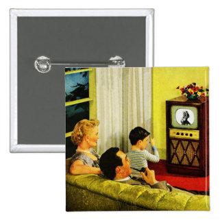 Botón retro de la familia de la TV Pin Cuadrado