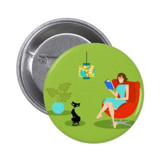 Botón retro de la mujer de la lectura pin redondo de 2 pulgadas
