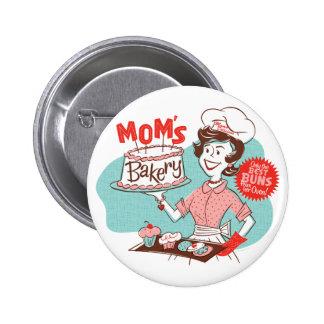 Botón retro de la panadería de la mamá - redondo