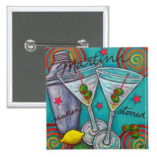 Botón retro de Martini Pin Cuadrado