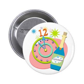 Botón retro del Año Nuevo Pin Redondo De 2 Pulgadas