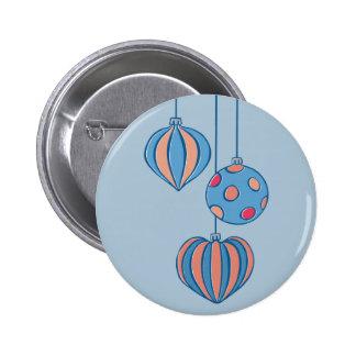 Botón retro del azul de las bolas del navidad