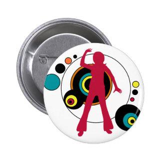 Botón retro del chica de baile pin redondo de 2 pulgadas