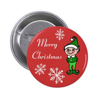 Botón retro del duende del navidad pin redondo de 2 pulgadas