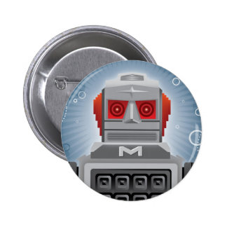 Botón retro del robot pin redondo de 2 pulgadas