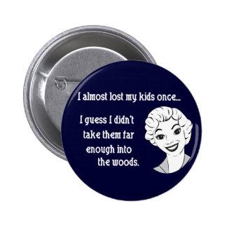 Botón retro divertido de la mamá pin redondo de 2 pulgadas