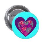 Botón retro enrrollado w/Heart del amor y flower p Pin