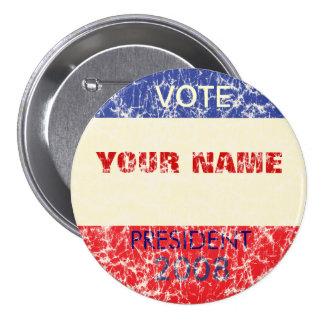 Botón retro personalizado de la campaña pin redondo de 3 pulgadas