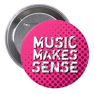 Botón retro rosado de la música del amor del tono pins