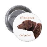 Botón revestido rizado del perro del perro perdigu pins