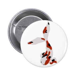 Botón rojo, blanco y negro de Koi Pin Redondo De 2 Pulgadas