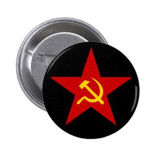 Botón rojo comunista de la estrella (martillo y ho pin redondo de 2 pulgadas