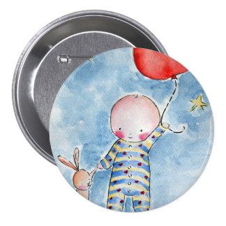 Botón rojo de Baloon Pin Redondo De 3 Pulgadas