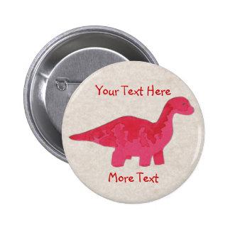 Botón rojo de Dino Pin Redondo De 2 Pulgadas