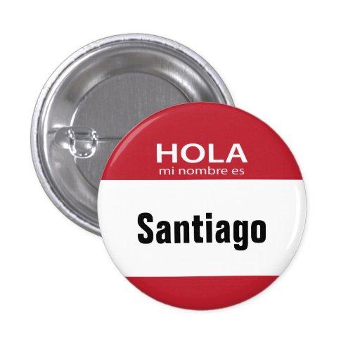 Botón rojo de Hola MI Nombre Es hola Pin