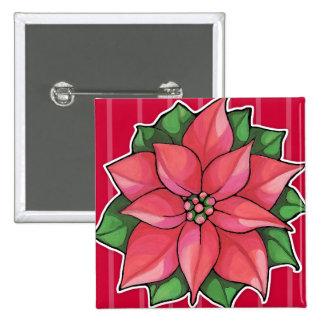 Botón rojo de la alegría del Poinsettia Pin