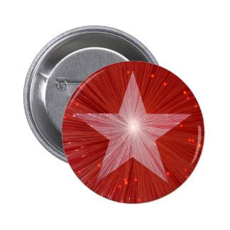 Botón rojo de la estrella pin redondo de 2 pulgadas