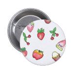 Botón rojo de la fruta I <3 Pin