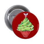 Botón rojo de la magdalena del árbol de navidad pin