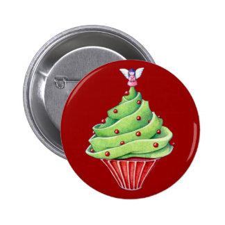 Botón rojo de la magdalena del árbol de navidad pin redondo de 2 pulgadas