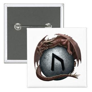 Botón rojo de la runa del dragón - Uruz Pin Cuadrado