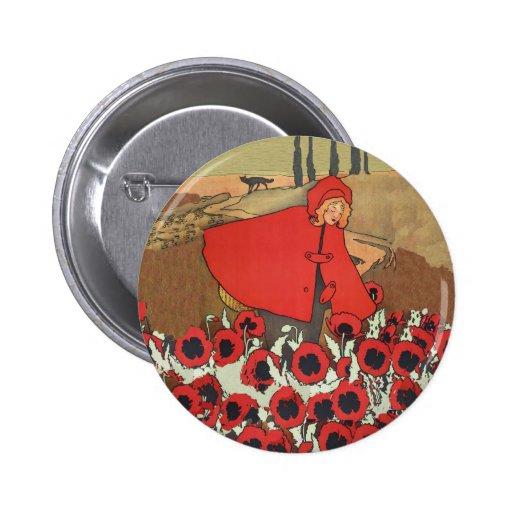 Botón rojo de las amapolas de la cosecha de la cap