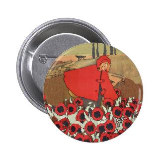Botón rojo de las amapolas de la cosecha de la cap pin redondo de 2 pulgadas