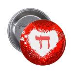 Botón rojo de los corazones de Chai Pins