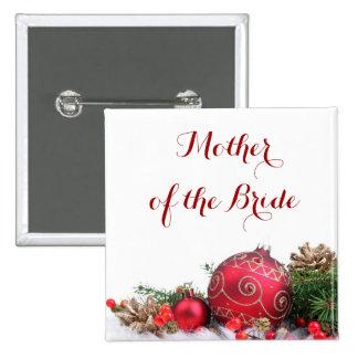 Botón rojo de los ornamentos del invierno del día pin cuadrado