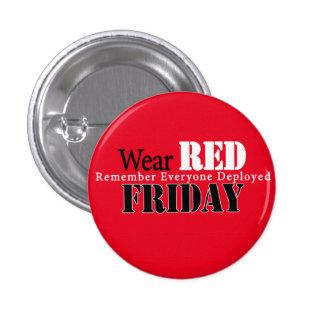 Botón ROJO de viernes Pin Redondo De 1 Pulgada